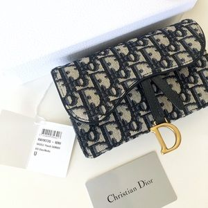 Authentic NAVY BLUE DIOR OBLIQUE SADDLE BELT BAG